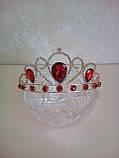 Корона під золото з червоними камінцями, діадема, тіара, висота 5,5 див., фото 6