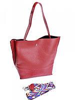 Женская кожаная сумка с цветным ремнем красная