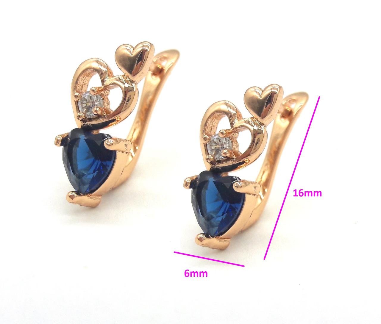 Серьги позолота, Три сердца с синим цирконием