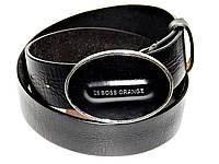 Мужской кожаный джинсовый ремень пояс Hugo Boss черный