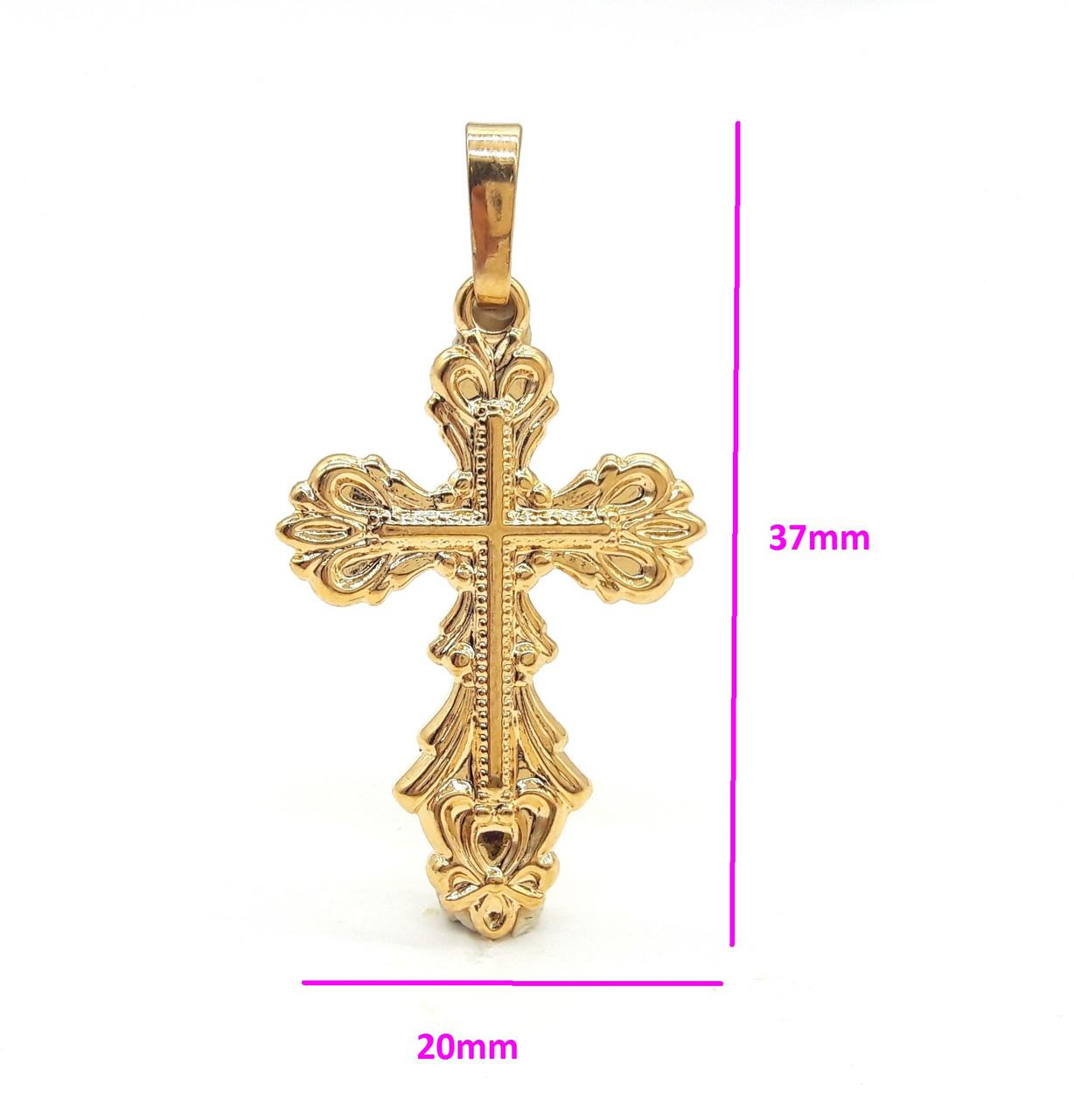 Крест с узором, без камней позолота, Xuping