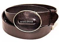 Мужской кожаный джинсовый ремень пояс HUGO BOSS коричневый