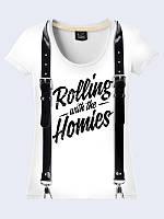 """Стильная женская футболка """"Rolling"""" в цветовой гамме черный с белым. Размеры от 42 по 50."""