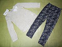 Нарядный легкий комплект для девочки с кофтой и лосинами 5 лет