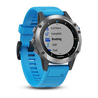Морской навигатор Garmin quatix 5 Stainless Steel with Blue Band(010-01688-40)