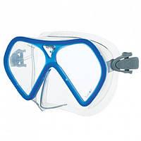 Маска для подводной охоты Seac Sub Fusion; прозрачная, синяя рамка сик саб фусион