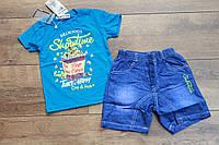 Костюм с джинсовыми шортами для мальчиков 1- 3 лет