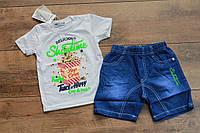 Костюм с джинсовыми шортами для мальчиков 1 год