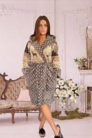 Женский махровый халат короткий-на запах
