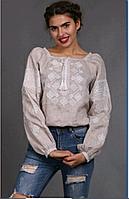 Женская вышиванка Окошко, серый лен, белая вышивка, длинный рукав