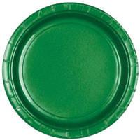 Праздничные, зеленые тарелки. Одноразовая, праздничная посуда.