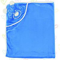 Детский плед с уголком-капюшоном для новорожденных. 3115мро.Махра нейтральных расцветок 90x120см.