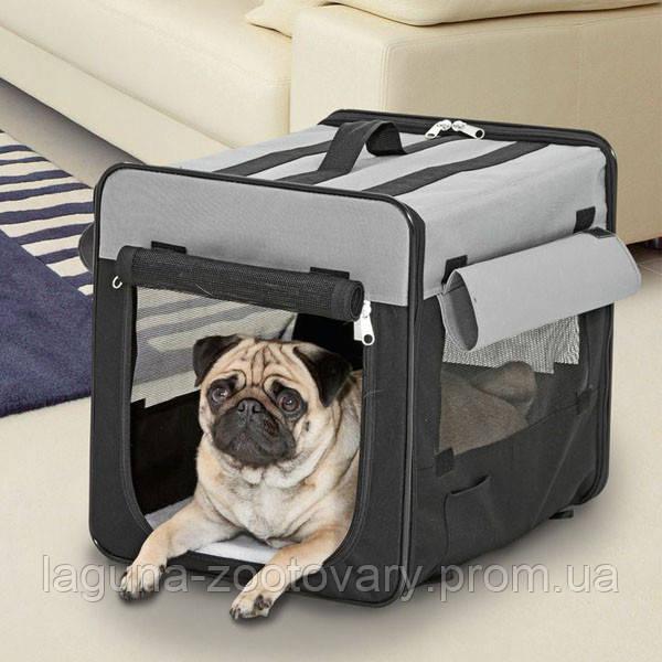 94х56х71см КАРЛИ-ФЛАМИНГО СМАРТ сумка переноска палатка для собак, складная, ткань, черно-серый