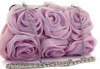 """Роскошный праздничный клатч розового цвета с драпировкой """"Цветы"""""""