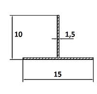 Алюмінієвий Тавр  ПАК-0009 15х10х1.5/ AS Срібло