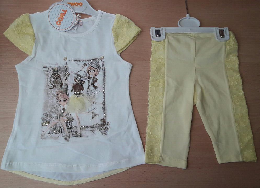 Детский летний костюм для девочек 2-5 лет футболка и штанишки