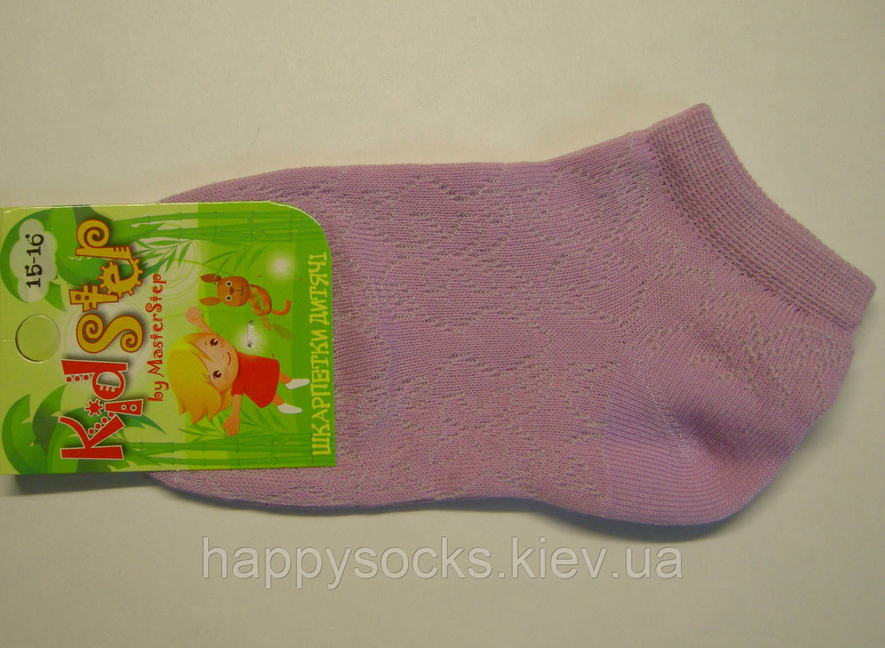 Тонкие летние носки в сетку сиреневого цвета для девочек