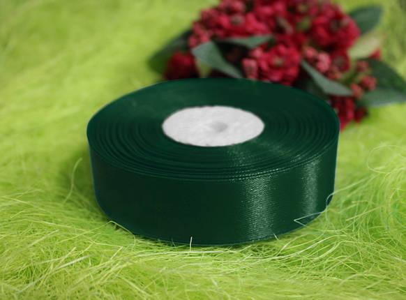 Лента атласная темно- зеленая 20 мм, моток 33 м., фото 2