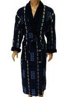 Натуральный мужской халат-синий