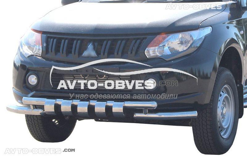 Защита переднего бампера модельная для Митсубиши Л200 2015 - 2018