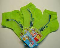 Летние тонкие носки салатового цвета в сетку мальчиковые