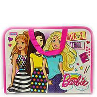 Папка портфель на молнии с тканевыми ручками Barbie