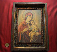 Старинная антикварная икона Божья Матерь