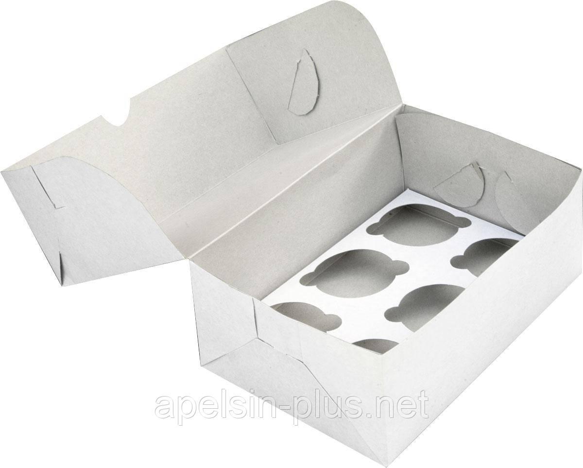 Упаковка для кексов белая на 6 штук 25-17-11 см (упаковка 5 штук)