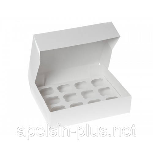 """Упаковка для кексов белая на 12 штук """"Эконом"""" 34-25,5-10 см"""