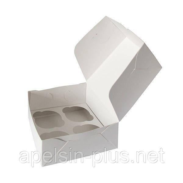 """Упаковка для кексов белая на 4 штуки """"Эконом"""""""