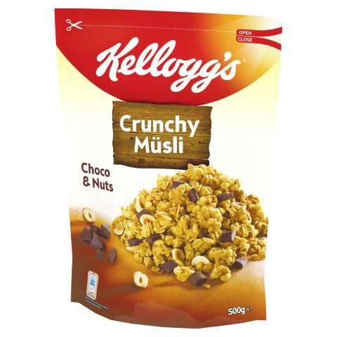 Мюсли овсяные Kelloggs Knusper Müsli Choco & Nuts (шоколад + орехи), 500г