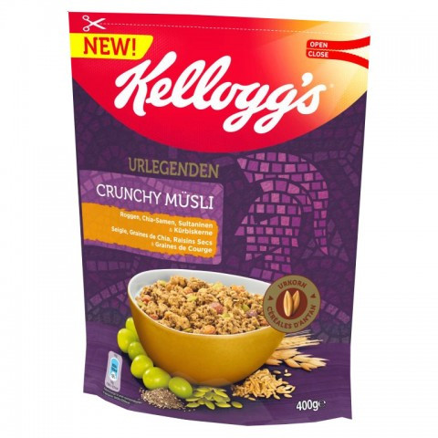 Мюслі вівсяні Kelloggs Urlegenden Crunchy Müsli з житом, насінням чіа, насінням гарбуза і родзинками, 400г