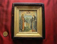 Старинная антикварная икона Зосима и Савватий