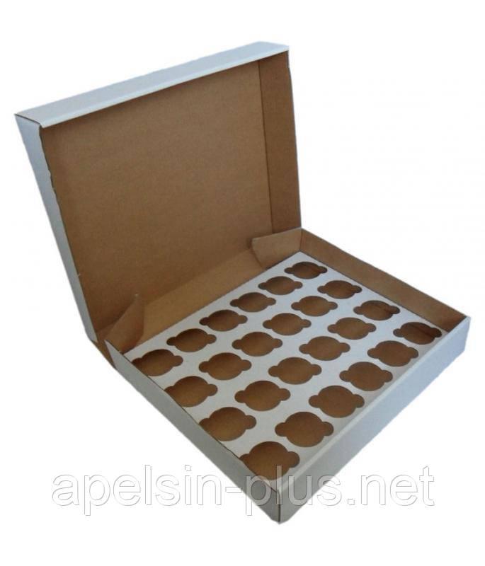 """Упаковка для кексов белая на 24 штуки """"Эконом"""""""