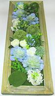 Композиция из искусственных суккулентов и цветов 76*30 см.