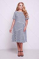 Женское Летнее платье в полоску ФЛЕШ серое  (54-60)