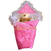 Конверт-одеяло для новорожденных на выписку и в коляску атласный легкий розовый