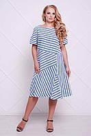 Женское Летнее платье в полоску ФЛЕШ синее  (54-60)