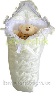 Конверт-одеяло для новорожденных на выписку и в коляску атласный легкий молочный