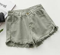 Шорты женские джинсовые американки хаки и серые,стильная женская одежда