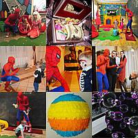 Человек-паук и СуперГел. Супергерои . Spidermen. Аниматоры Харьков.Детский праздник.
