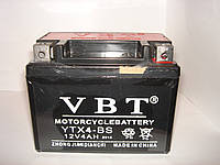 Гелевый Мото аккумулятор VBT YTX4-BS (12V 4Ah) на мопед, скутер или мотоцикл