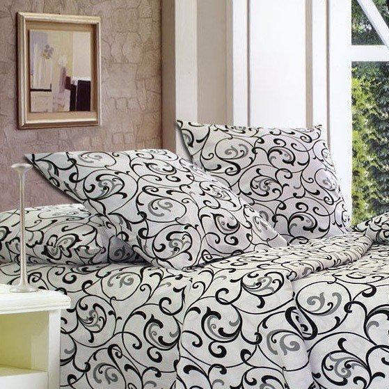 фотография двуспальный размер постельное белье с черными вензелями