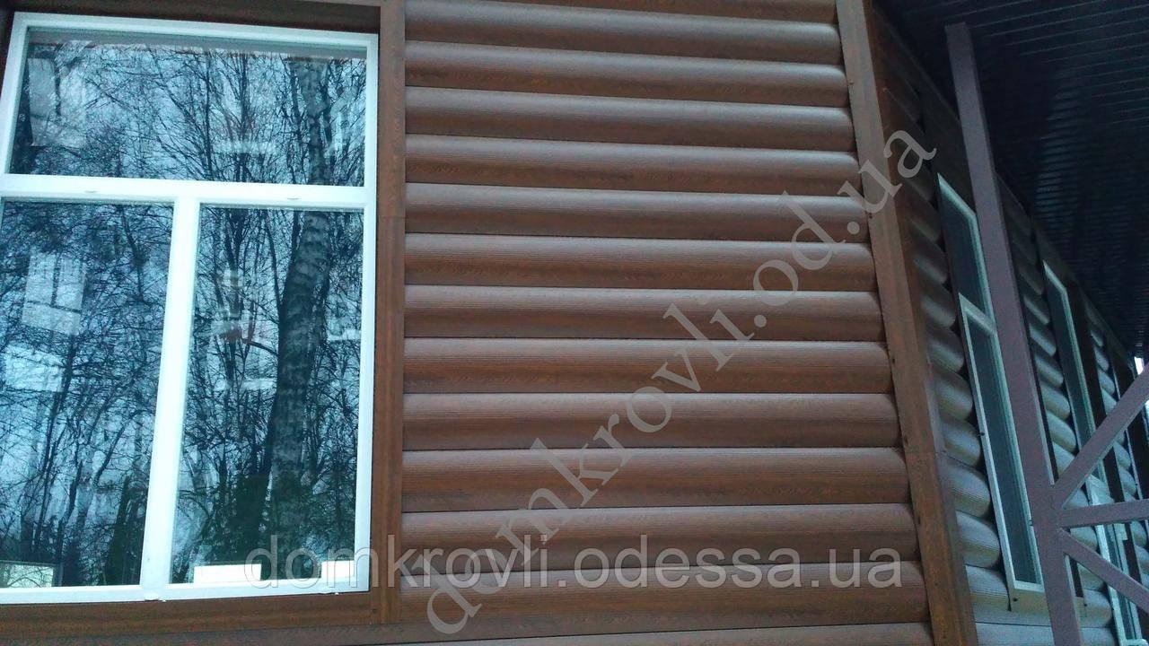 Металлический сайдинг Блок-хаус Бревно Золотой дуб