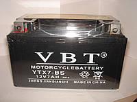 Гелевый Мото аккумулятор VBT YTX7-BS (12V 7Ah) на мопед, скутер или мотоцикл