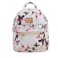 Молодежный модный рюкзак подросток девочка белый бабочки