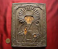 Старинная Антикварная икона Николай Чудотворец