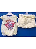Нарядный летний костюм для девочки с шортами и блузкой 9-18 месяцев