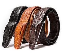 Дизайнерский кожаный ремень с пряжкой крокодил (черный)