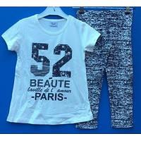 Модный костюм для девочки с бриджами и футболкой 116-152